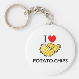 I Love Potato Chips Basic Round Button Keychain