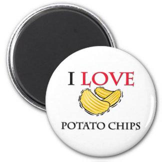 I Love Potato Chips Fridge Magnets