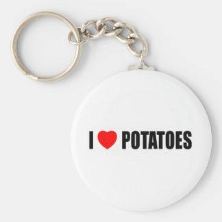 I Love Potatoes Basic Round Button Keychain