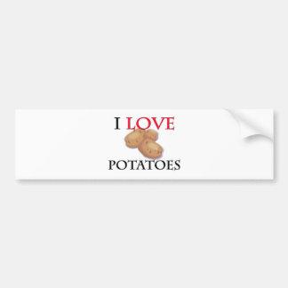 I Love Potatoes Car Bumper Sticker