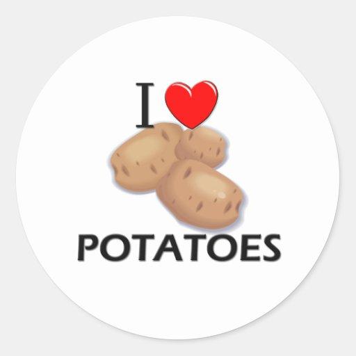I Love Potatoes Round Stickers