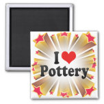 I Love Pottery 2 Inch Square Magnet