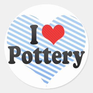 I Love Pottery Classic Round Sticker