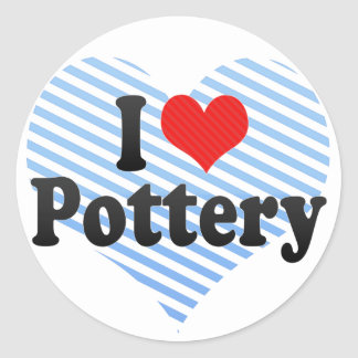 I Love Pottery Round Stickers