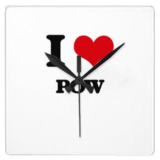 I Love POW Square Wall Clock