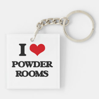 I Love Powder Rooms Double-Sided Square Acrylic Keychain