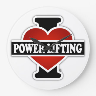 I Love Power Lifting Large Clock