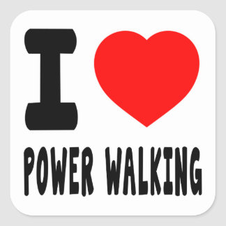 I Love Power Walking Square Sticker