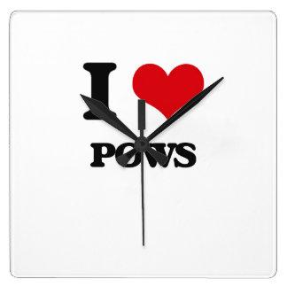 I Love Pows Square Wallclock