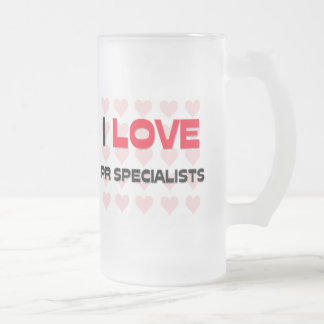 I LOVE PR SPECIALISTS FROSTED GLASS BEER MUG