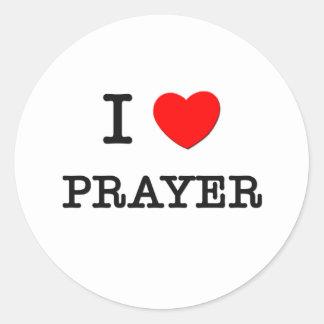 I Love Prayer Round Sticker