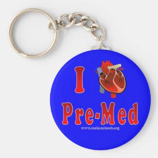 I Love Pre Med blue Keychain