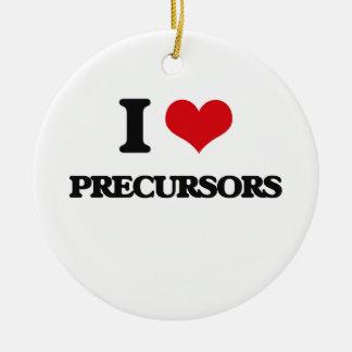 I Love Precursors Double-Sided Ceramic Round Christmas Ornament