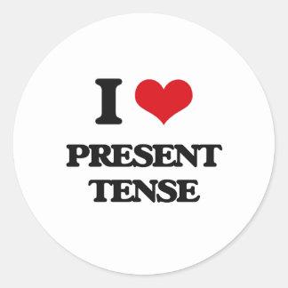 I Love Present Tense Classic Round Sticker