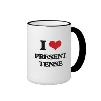 I Love Present Tense Ringer Coffee Mug