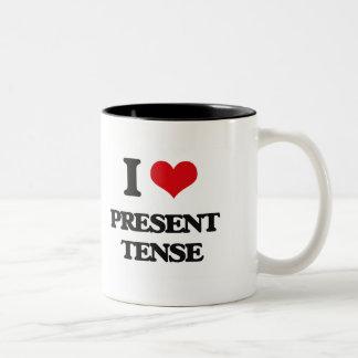 I Love Present Tense Two-Tone Coffee Mug