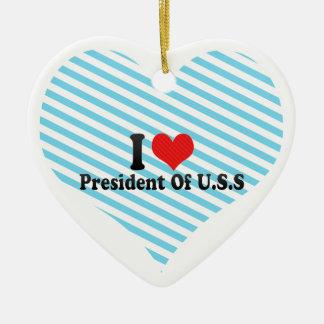 I Love President Of U.S.S Double-Sided Heart Ceramic Christmas Ornament