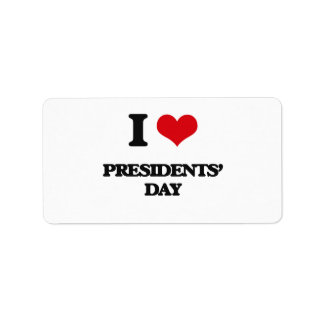 I Love Presidents' Day Personalized Address Label