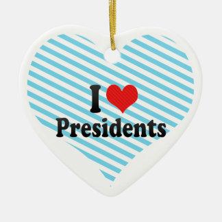I Love Presidents Double-Sided Heart Ceramic Christmas Ornament