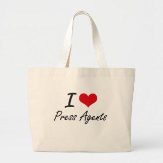 I Love Press Agents Jumbo Tote Bag
