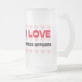 I LOVE PRESS OFFICERS 16 OZ FROSTED GLASS BEER MUG