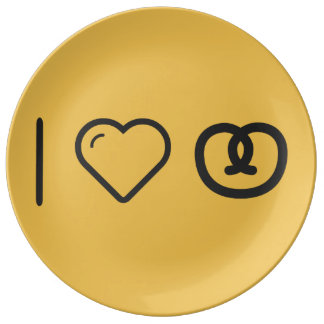 I Love Pretzels Porcelain Plates