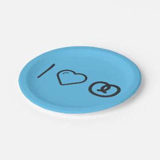 I Love Pretzels 7 Inch Paper Plate