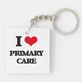 I Love Primary Care Double-Sided Square Acrylic Keychain