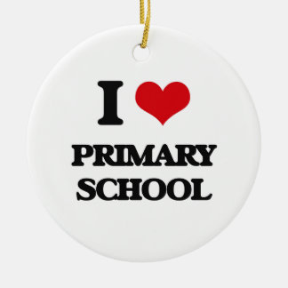 I Love Primary School Double-Sided Ceramic Round Christmas Ornament