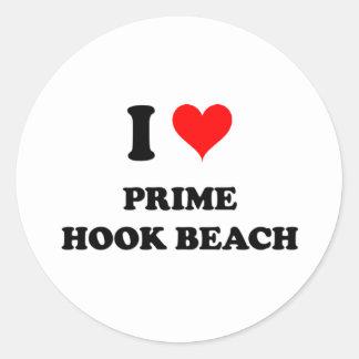 I Love Prime Hook Beach Delaware Classic Round Sticker