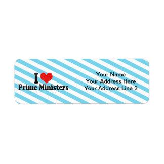 I Love Prime Ministers Return Address Label