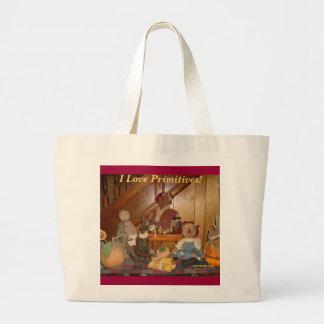 I Love Primitives! Large Tote Bag