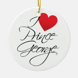 I Love Prince George, Red Heart Double-Sided Ceramic Round Christmas Ornament