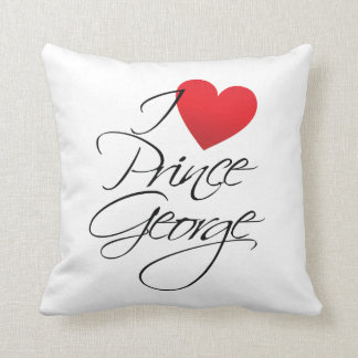 I Love Prince George, Red Heart Throw Pillow