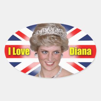 I Love Princess Diana Oval Sticker