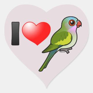 I Love Princess Parrots Heart Sticker