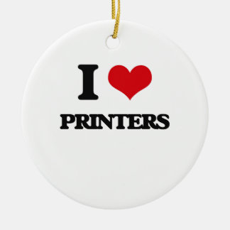 I Love Printers Double-Sided Ceramic Round Christmas Ornament