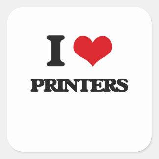 I Love Printers Square Sticker