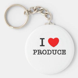 I Love Produce Basic Round Button Keychain