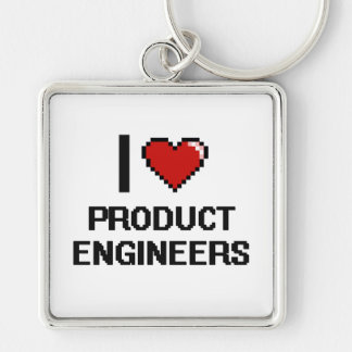 I love Product Engineers Silver-Colored Square Keychain