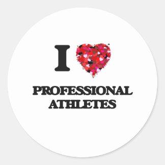 I love Professional Athletes Classic Round Sticker