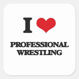 I Love Professional Wrestling Square Stickers