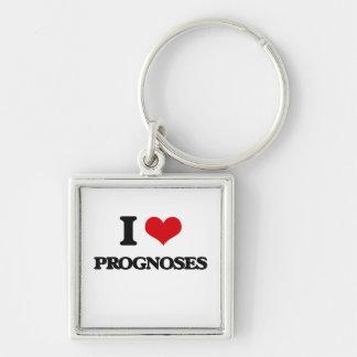 I Love Prognoses Silver-Colored Square Keychain