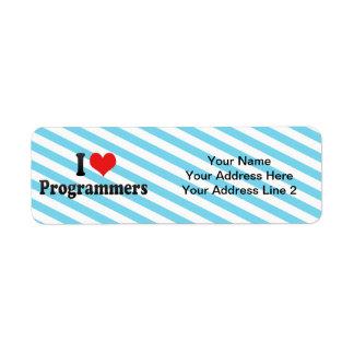 I Love Programmers Custom Return Address Labels