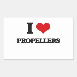 I Love Propellers Rectangular Sticker