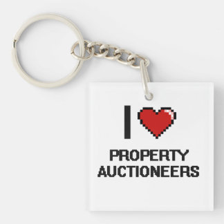 I love Property Auctioneers Single-Sided Square Acrylic Keychain