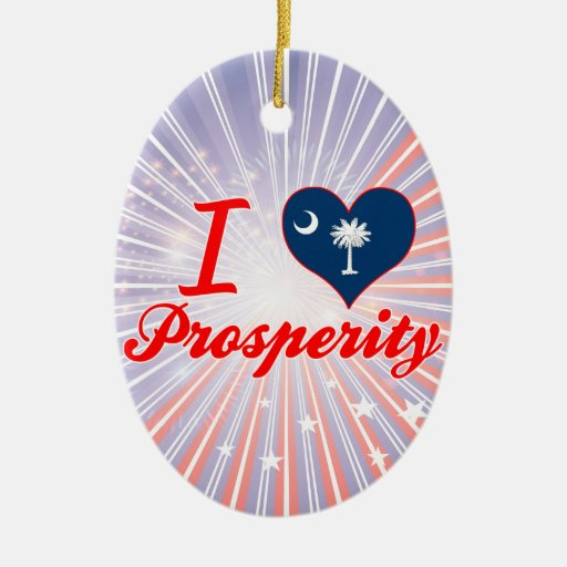 I Love Prosperity, South Carolina Double-Sided Oval Ceramic Christmas Ornament