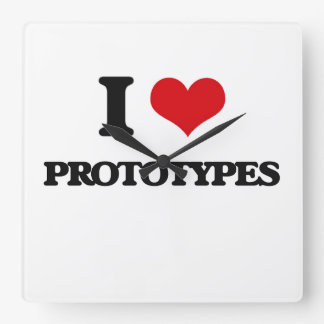 I Love Prototypes Square Wallclock