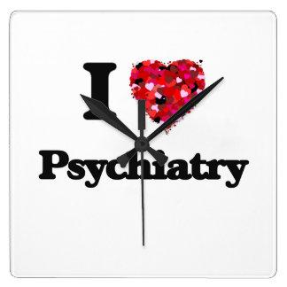 I Love Psychiatry Square Wall Clock