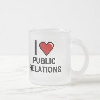 I Love Public Relations Digital Design Frosted Glass Coffee Mug